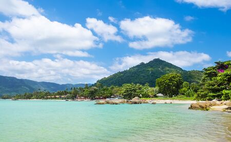 Beautiful tropical beach with turquoise water in Thailand, Koh Samui island.