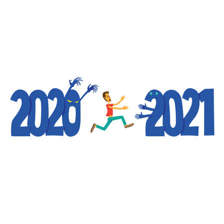 Scared man running away from 2020 to 2021. New year concept.