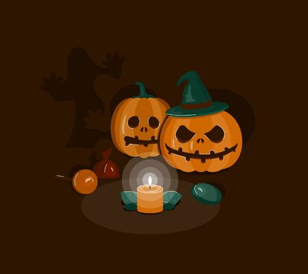 Halloween angry pumpkin and scared pumpkin in the dark collect sweets Ilustração