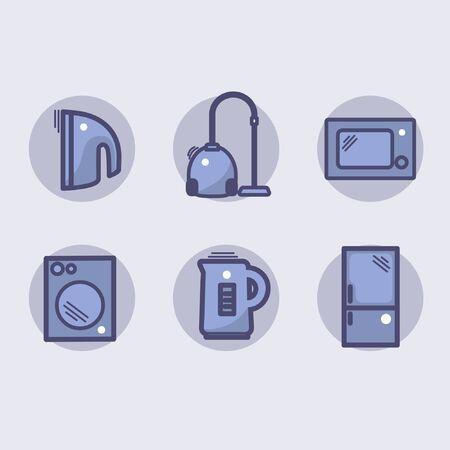Icons for home appliances, vacuum cleaner, microwave, washing machine, kettle, refrigerator Ilustração