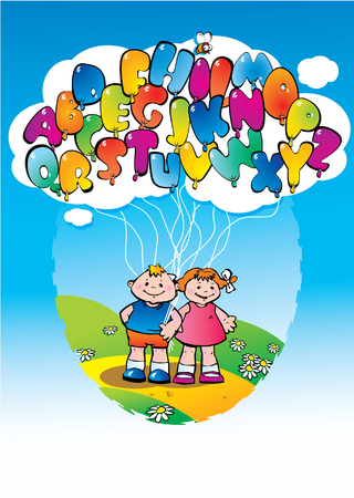 kids having a fun party with alphabet balloons in a sunny day. Vector