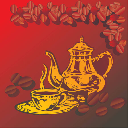 coffeepot: Cup of hot coffee with Arabian coffeepot over brown background