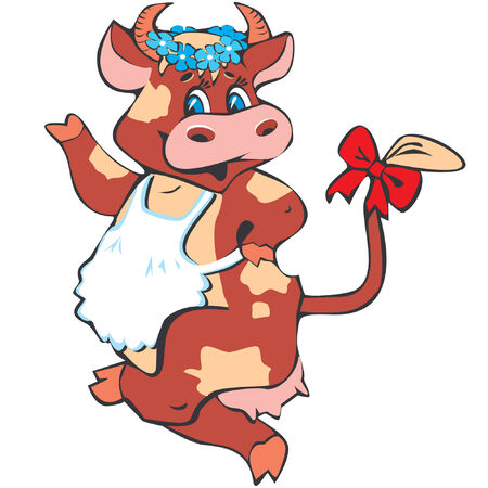 Happy cow over the white background. Stock Vector - 4908540