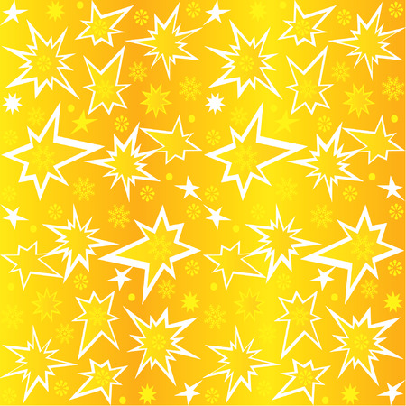Gold stars on yellow background. Vector