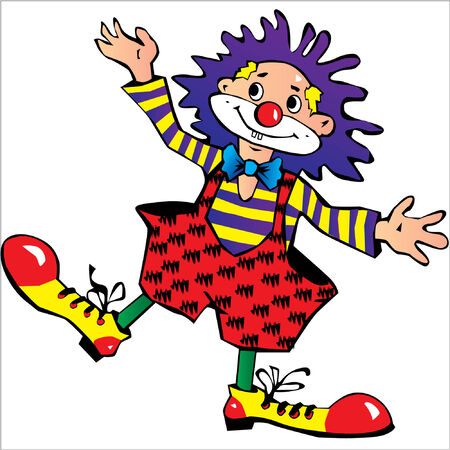 comedian: Funny blue-haired clown. Illustration