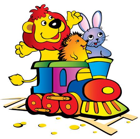 illustration zoo: Un leone, una lepre e un riccio con il treno su sfondo bianco. Amicizia.