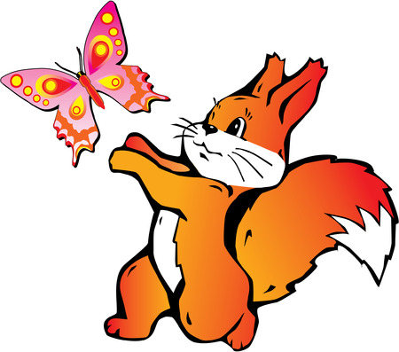 Lively squirrel with butterfly on white background. Vector