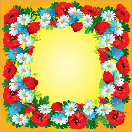 Flowers vector frame on yellow Vector