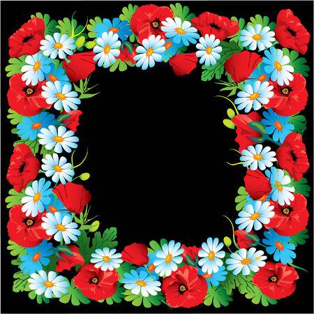 Flowers vector frame on black Vector
