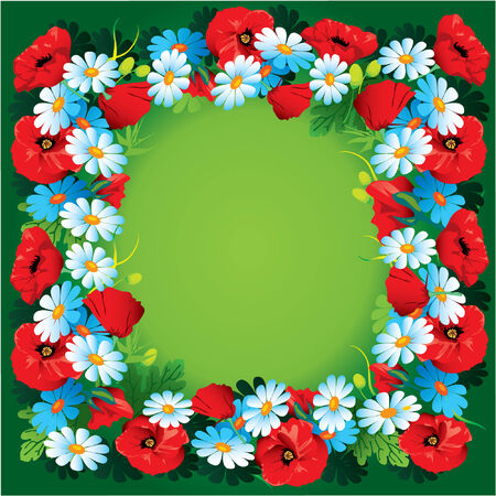 garden cornflowers: Flowers vector frame