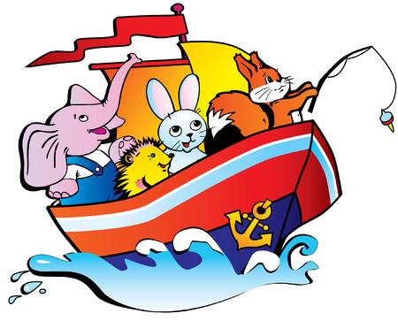 egel: De olifant, de egel, hazen en eekhoorn zweven door een schip