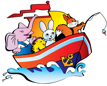 boat party: The elephant, the hedgehog, hare and squirrel floating by a ship