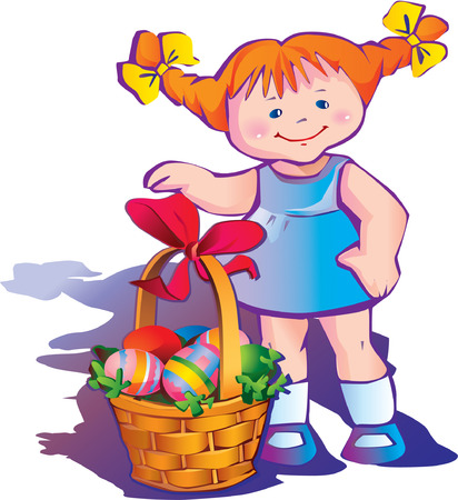 paschal: Beautiful girl with basket of paschal eggs. Happy easter.