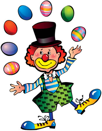 painted face: Clown with the easter eggs Illustration