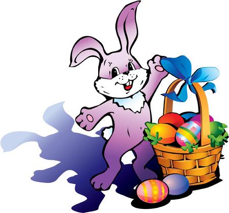 cottontail: Conejo de Pascua feliz con la cesta de