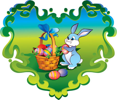 Easter bunny with basket in the heart-frame Vector