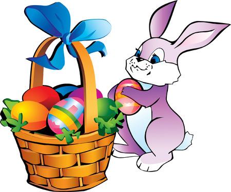 cottontail: conejito poco con cesta de Pascua Vectores