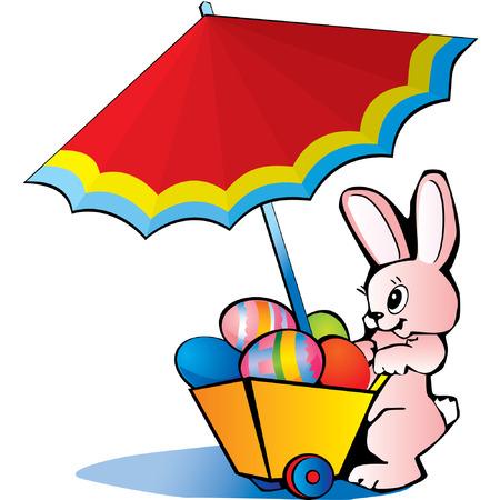 hand cart: Conejito de Pascua con el carro de la mano de los huevos de Pascua