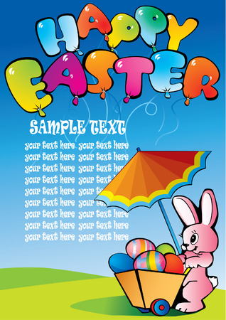 paschal: Easter bunny with paschal handcart and sample text