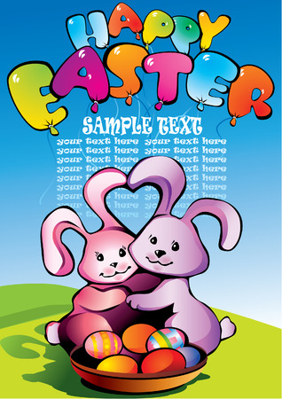 two easter bunnies with sample text Stock Vector - 4919300