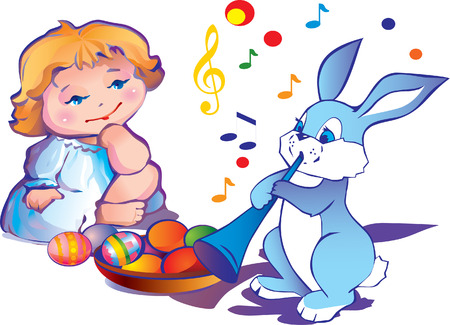 little girl with easter bunny and plate of paschal eggs Stock Vector - 4919252