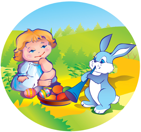 paschal: little girl with easter bunny and plate of paschal eggs on the lawn Illustration