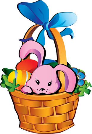Easter rabbit in the basket Stock Vector - 4919261