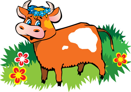 Happy friendly cow Stock Vector - 4919245
