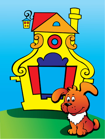 Happy puppy with house Vector