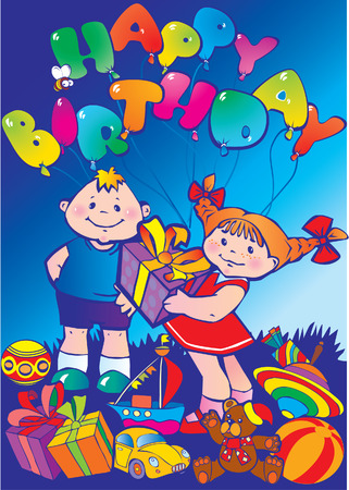 Happy children with birthday gifts Vector