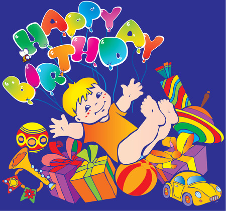 Happy boy with lots of birthday gifts Vector