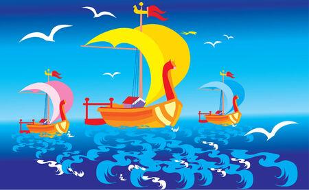 Fairy tale boats Vector