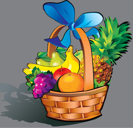 Beautiful fruits with basket Vector