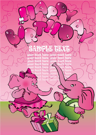 two small elephants on the pink background Vector