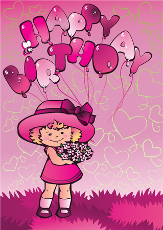 rosy: Beautiful little girl and set of balloons Illustration