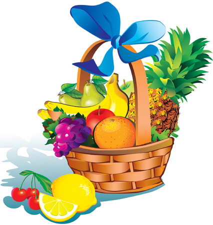 Beautiful fruits with basket over white background. Salubrious food. Illustration