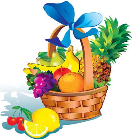 Schöne Früchte mit Korb auf weißem Hintergrund. Gesunde Lebensmittel.