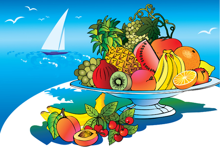salubrious: Plate of beautiful fruits against the sea background. Salubrious food. Illustration