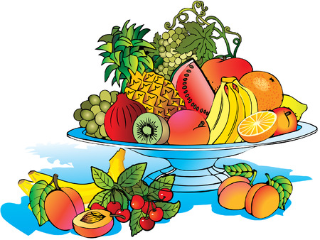 Plate of beautiful fruits. Salubrious food. Vector