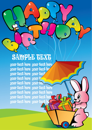 Happy birthday hare with presents and sample text Stock Vector - 4919358