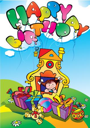 kid vector: Ni�a feliz con los regalos de cumplea�os. Feliz cumplea�os.