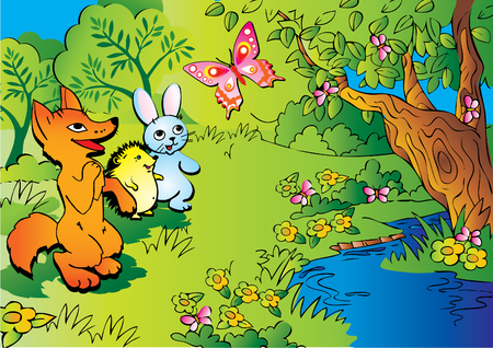 happy family garden: The fox, hedgehog, hare and butterfly in woods.
