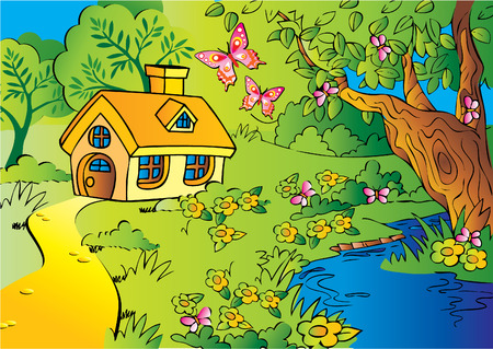 Little house in woods. Vector