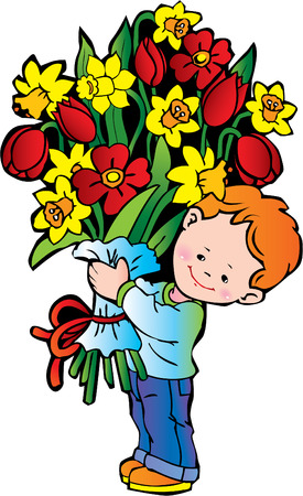 Happy boy with bunch of flowers on the white background. Happy childhood. Stock Vector - 4919325