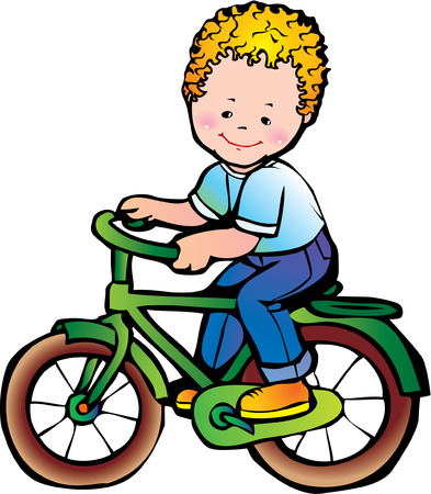 Nice boy on the bike. Happy childhood. Vector