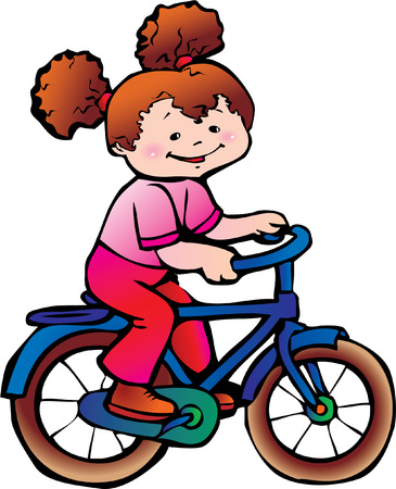 Nice girl on the bike. Happy childhood. Vector