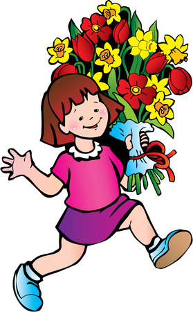 Happy girl with big bouquet of flowers on the white background. Fine childhood. Vector