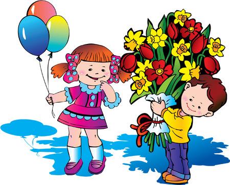 Glad children with big bouquet of flowers. Happy childhood. Vector
