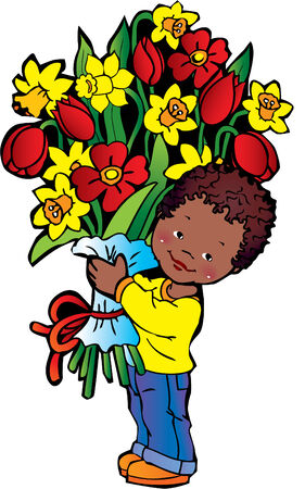 Happy boy with bunch of flowers on the white background. Happy childhood. Vector