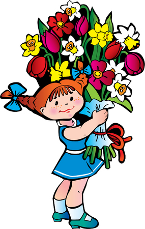 Happy girl with bunch of flowers on the white background. Happy childhood. Vector